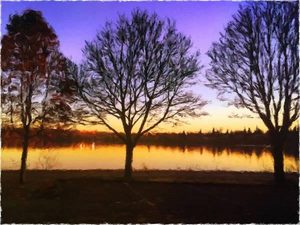 Digital Art - Greenlake Dawn Intensity by Paisley O'Farrell