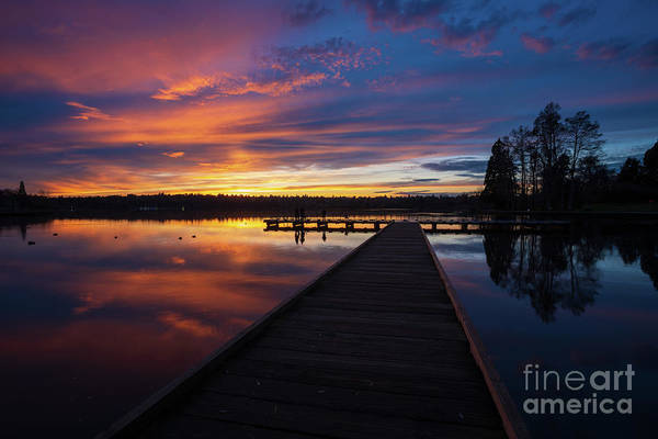 Wall Art - Photograph - Greenlake Sunset Skies Dock Serenity by Mike Reid