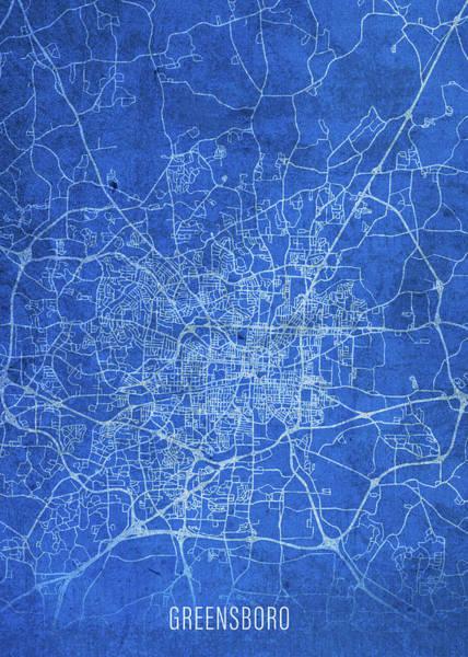 Wall Art - Mixed Media - Greensboro North Carolina City Street Map Blueprints by Design Turnpike