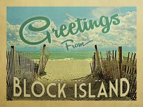 Summer Day Digital Art - Greetings From Block Island Beach by Flo Karp