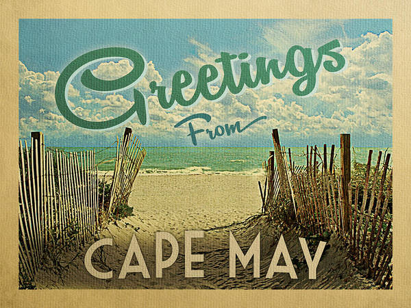 Wall Art - Digital Art - Greetings From Cape May Beach by Flo Karp