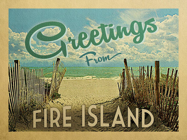 Wall Art - Digital Art - Greetings From Fire Island Beach by Flo Karp