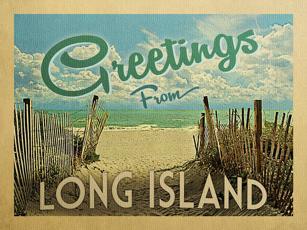 Wall Art - Digital Art - Greetings From Long Island Beach by Flo Karp