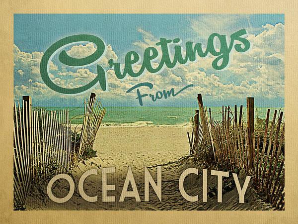 Summer Day Digital Art - Greetings From Ocean City Beach by Flo Karp