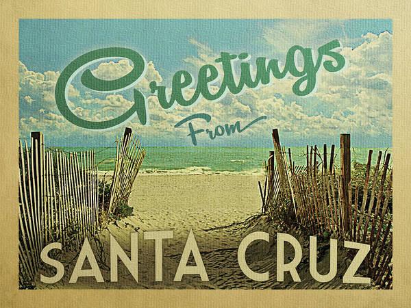 Wall Art - Digital Art - Greetings From Santa Cruz Beach by Flo Karp