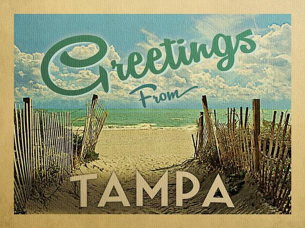 Tampa Digital Art - Greetings From Tampa Beach by Flo Karp