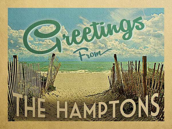 Wall Art - Digital Art - Greetings From The Hamptons Beach by Flo Karp