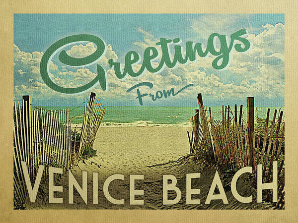 California Beaches Digital Art - Greetings From Venice Beach by Flo Karp