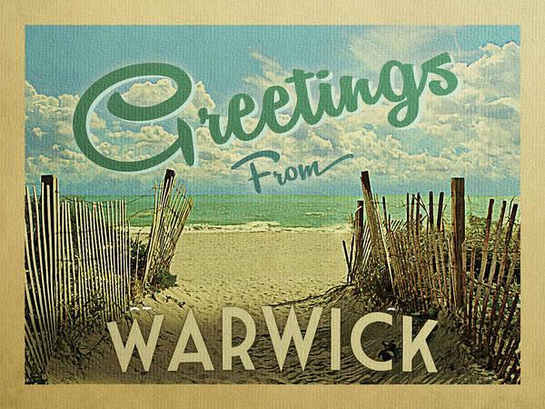 Wall Art - Digital Art - Greetings From Warwick Beach by Flo Karp