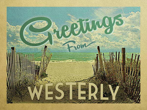 Wall Art - Digital Art - Greetings From Westerly Beach by Flo Karp