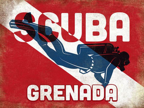 Scuba Digital Art - Grenada Scuba Diver - Blue Retro by Flo Karp