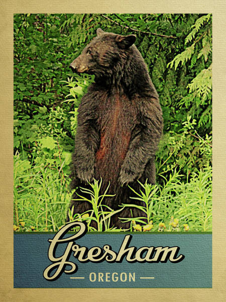 Oregon Wildlife Wall Art - Digital Art - Gresham Oregon Vintage Bear by Flo Karp