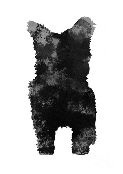 Wall Art - Painting - Grey And Black Silhouette Of A Yorkie Facing Front by Joanna Szmerdt