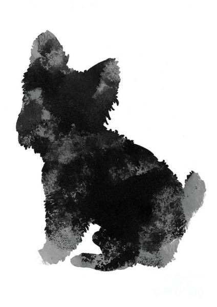 Wall Art - Painting - Grey And Black Silhouette Of A Yorkie Facing Left by Joanna Szmerdt