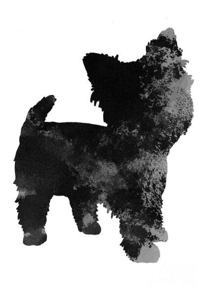 Wall Art - Painting - Grey And Black Silhouette Of A Yorkie Facing Right by Joanna Szmerdt