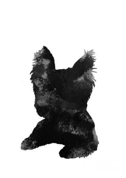 Wall Art - Painting - Grey And Black Silhouette Of A Yorkie's Face And Paws by Joanna Szmerdt