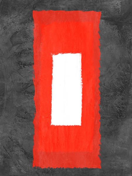Wall Art - Painting - Grey And Red Abstract Iv by Naxart Studio