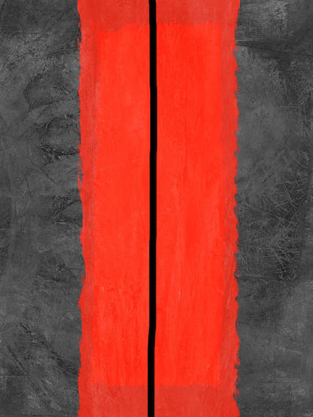 Wall Art - Painting - Grey And Red Abstract V by Naxart Studio