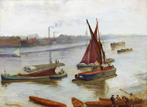 Wall Art - Painting - Grey And Silver, Old Battersea Reach -  Digital Remastered Edition by James McNeill Whistler