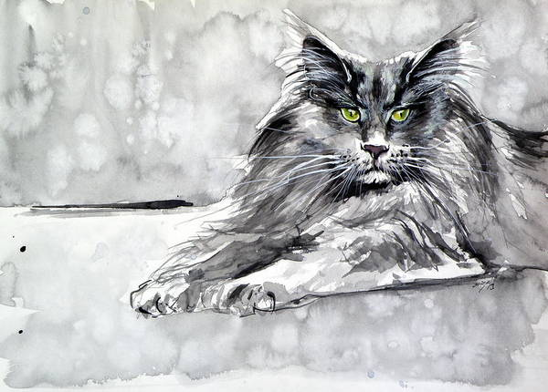 Wall Art - Painting - Grey Cat by Kovacs Anna Brigitta