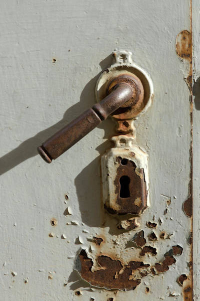 Wall Art - Photograph - Grey Door With Lock by Iris Richardson
