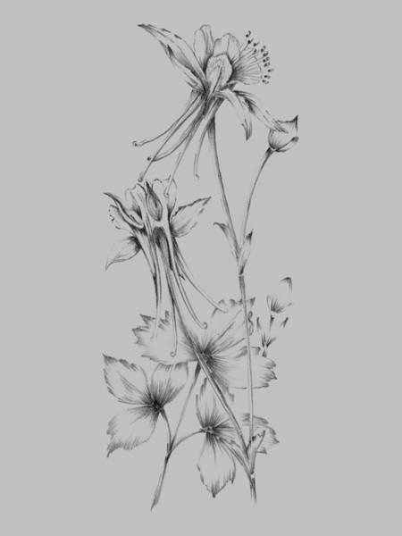 Love Mixed Media - Grey Flower Sketch by Naxart Studio