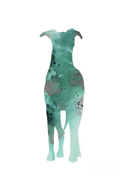 Wall Art - Painting - Greyhound Figurine Watercolor Painting Colorful Doggie Animal Modern Art by Joanna Szmerdt
