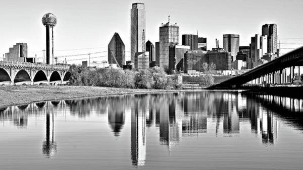 Wall Art - Photograph - Greyscale Dallas Skyline by Frozen in Time Fine Art Photography
