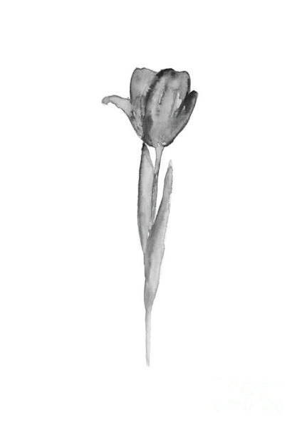 Wall Art - Painting - Greyscale Tulip Watercolor Illustration Hygge Home Art by Joanna Szmerdt