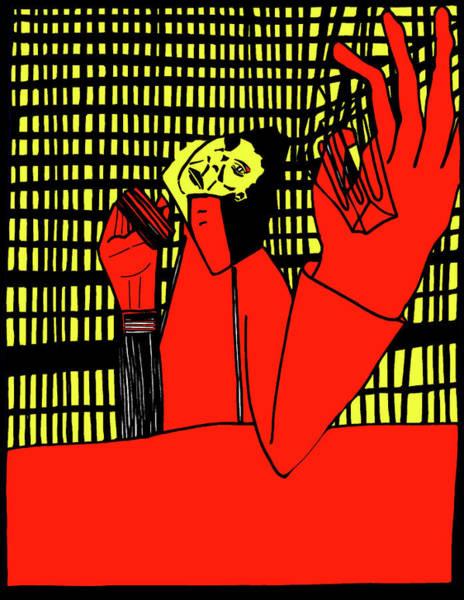 Digital Art - Gridismjr 6 Drinking Man by Artist Dot