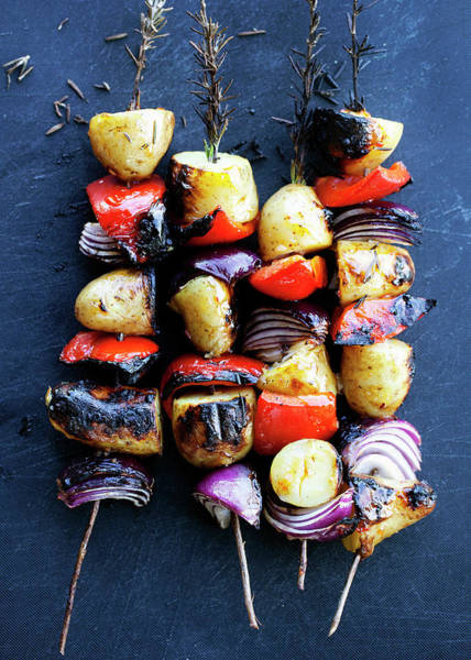 Vertical Line Wall Art - Photograph - Grilled Vegetable Rosemary Kebabs by Line Klein
