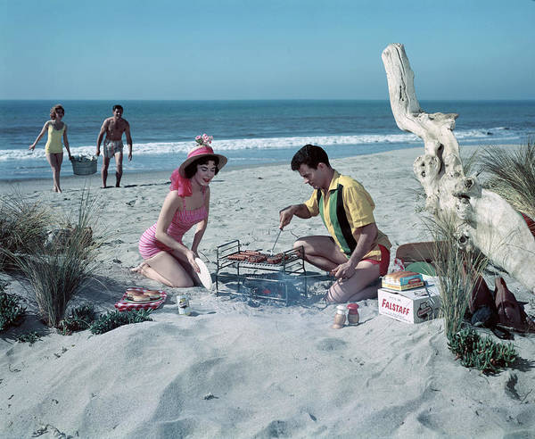 Lifestyles Photograph - Grilling On The Beach by Tom Kelley Archive