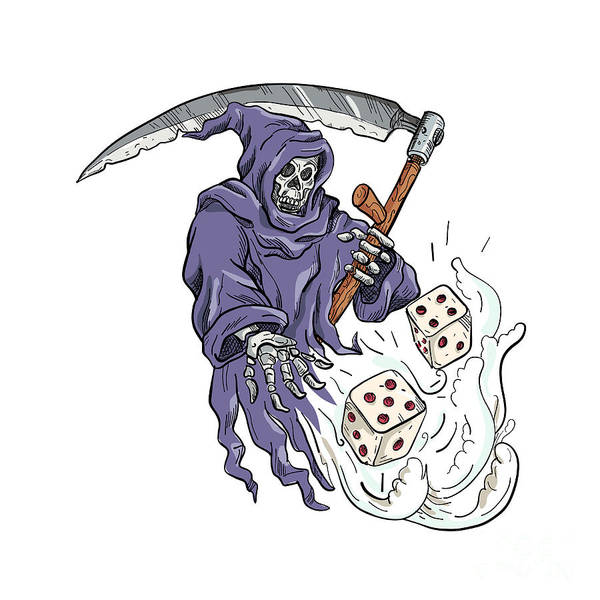 Wall Art - Digital Art - Grim Reaper Throwing The Dice Drawing Color by Aloysius Patrimonio