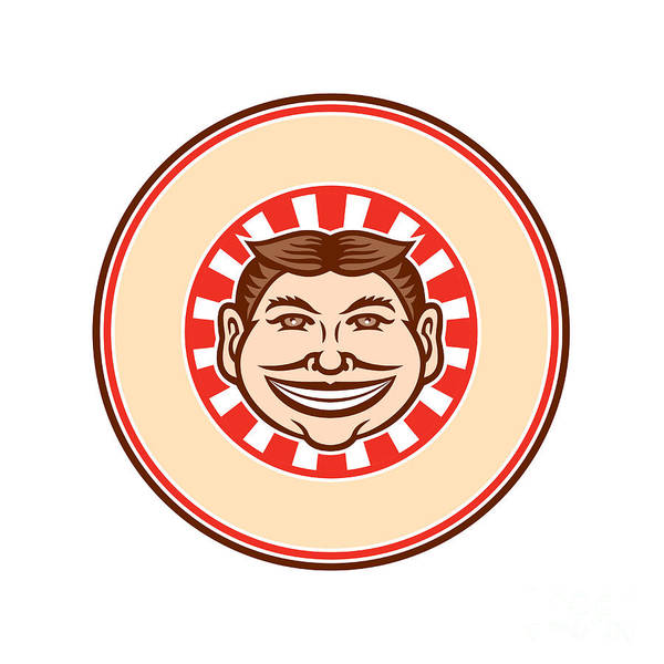 Wall Art - Digital Art - Grinning Funny Face Mascot Circle Retro by Aloysius Patrimonio