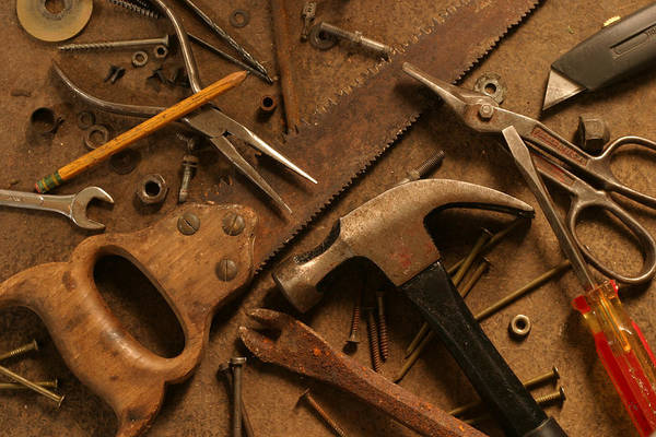 Workshop Photograph - Gritty Hand Tools Scattered Across by Donald gruener