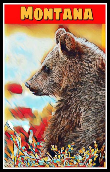 Digital Art - Grizzly Bear Art Montana Wildlife Travel Poster by Shelli Fitzpatrick