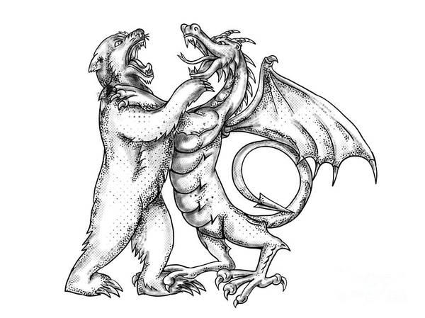 Wall Art - Digital Art - Grizzly Bear Fighting  Chinese Dragon Tattoo by Aloysius Patrimonio