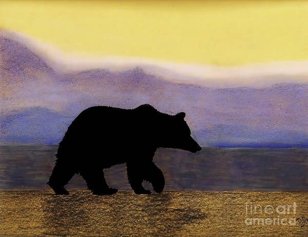 Drawing - Grizzly By The Water by D Hackett