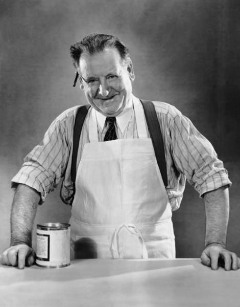 Wall Art - Photograph - Grocery Store Salesman Wcan On Counter by George Marks