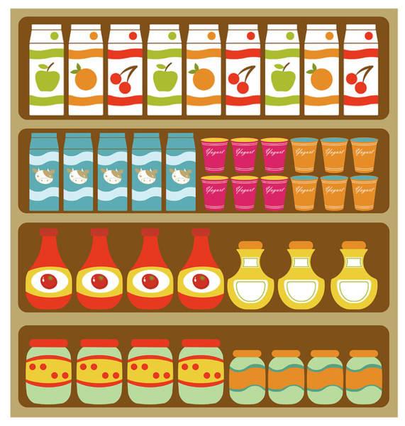 Shelves Digital Art - Grocery Store Shelves by Olillia