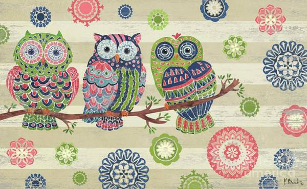 Owl Painting - Groovy Owls Horizontal I by Paul Brent