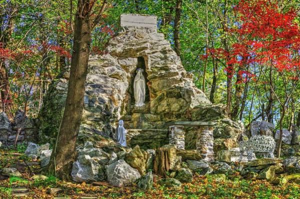 Bernadette Photograph - Grotto Of Lourdes No. 1 At Saint Peter The Apostle Catholic Church - Libertytown, Maryland - Autumn by Michael Mazaika