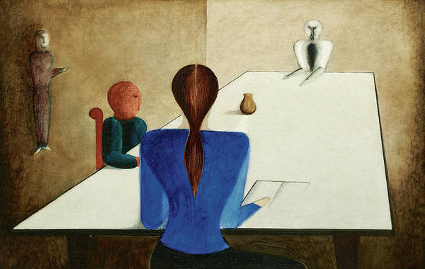 Wall Art - Painting - Group At Table, 1923 by Oskar Schlemmer