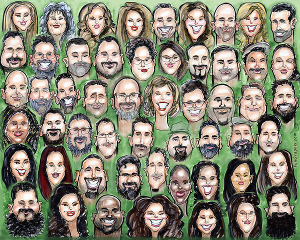 Digital Art - Group Caricature From Individuals Drawn Live At Event by Kevin Middleton