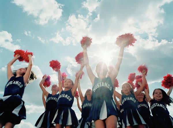 Wall Art - Photograph - Group Of Cheerleaders 8-10 Jumping by Britt Erlanson