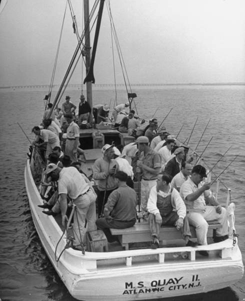 Sport Fishing Photograph - Group Of Men In A Fishing Boat On An Exc by Alfred Eisenstaedt