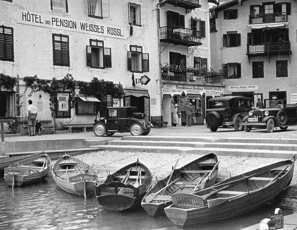 Rowboat Photograph - Group Of Rowboats Beached At A Small by Alfred Eisenstaedt