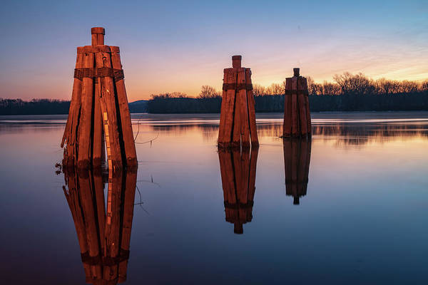 Group Of Three Docking Piles On Connecticut River Art Print