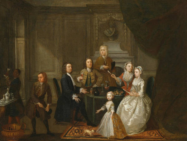Painting - Group Portrait, Probably Of The Raikes Family by Gawen Hamilton