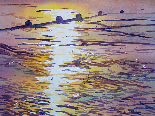 Painting - Groynes And Glare by Glenn Marshall